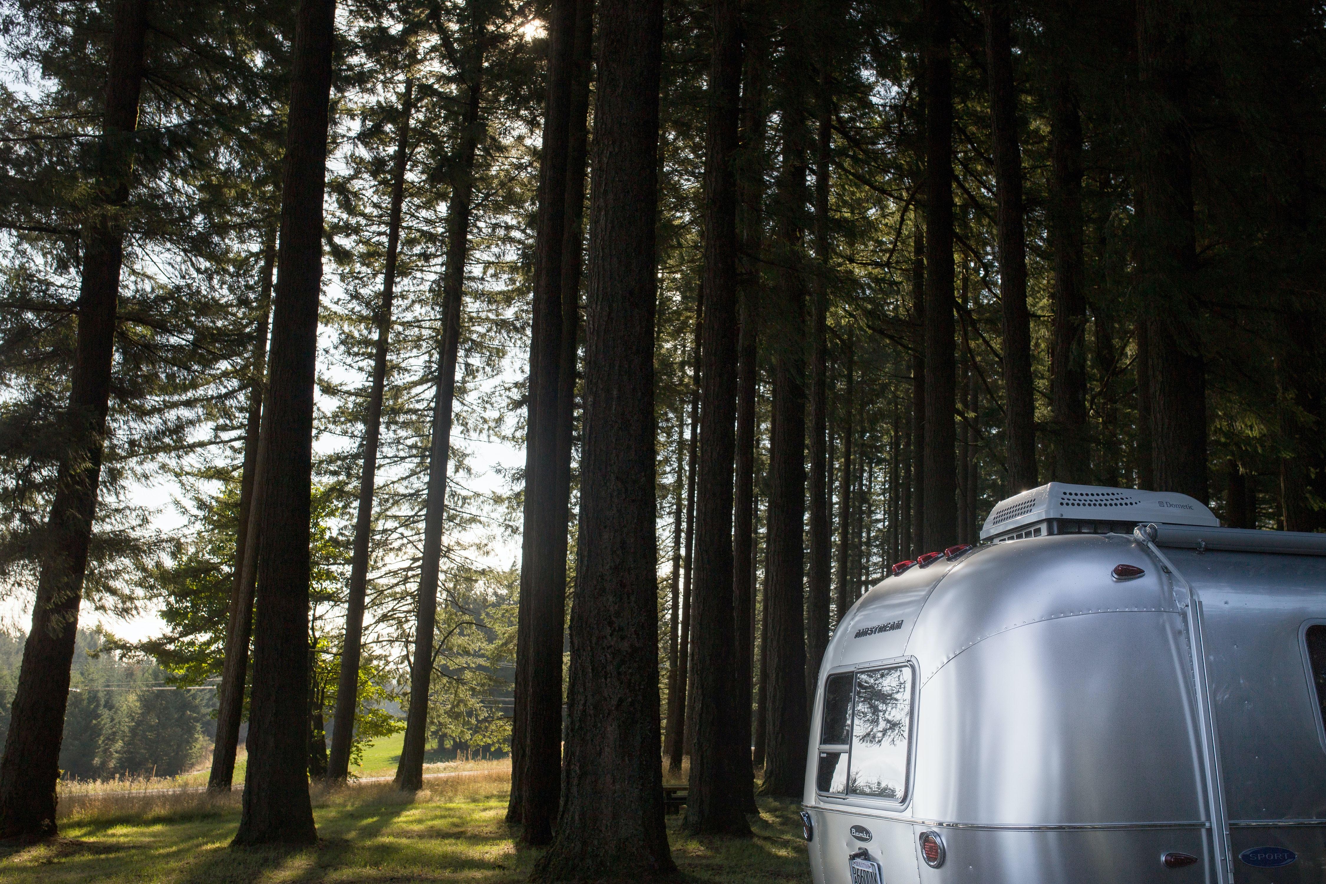 gray metal trailer beside green trees during daytime