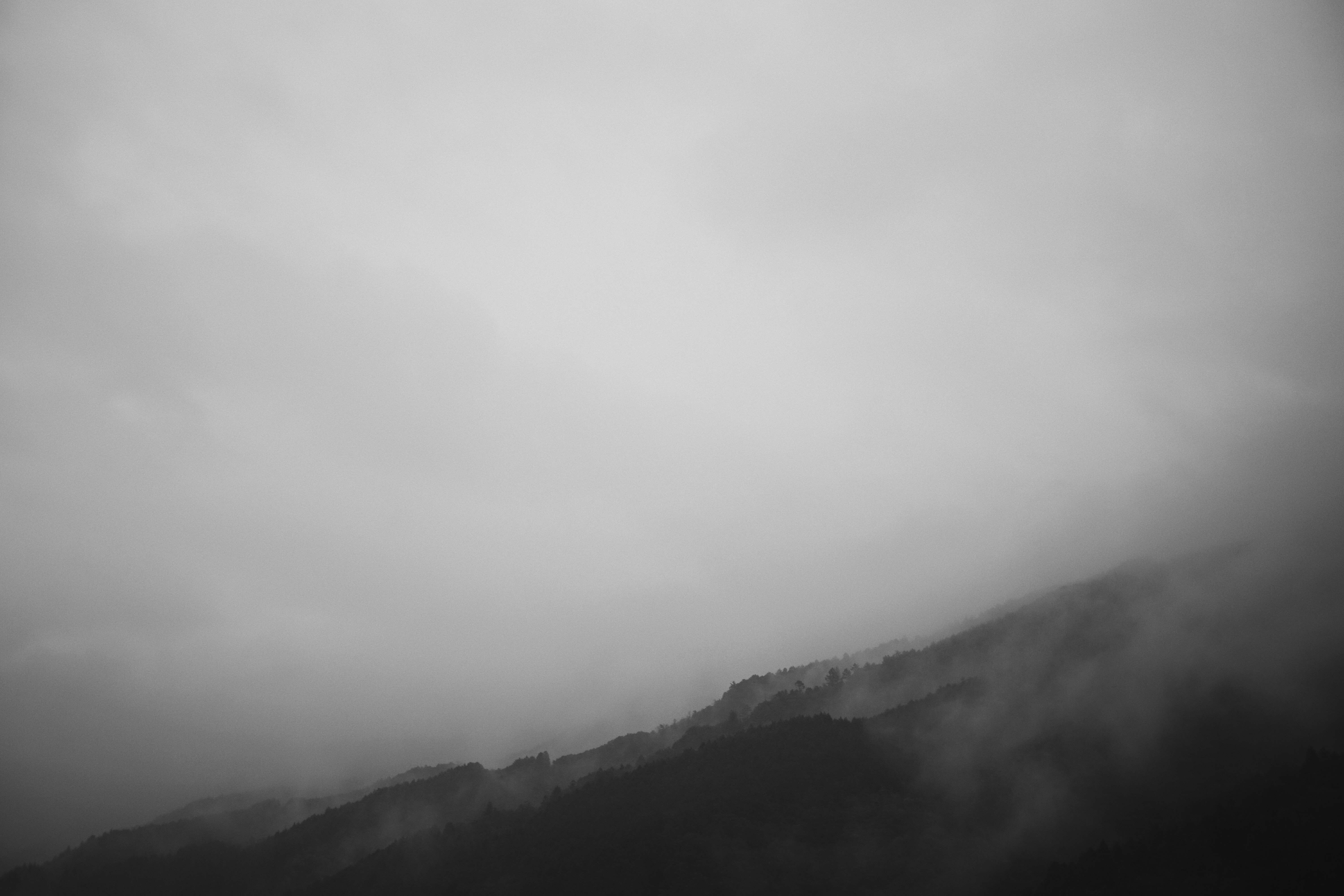 grayscale photography of fog covered mountain