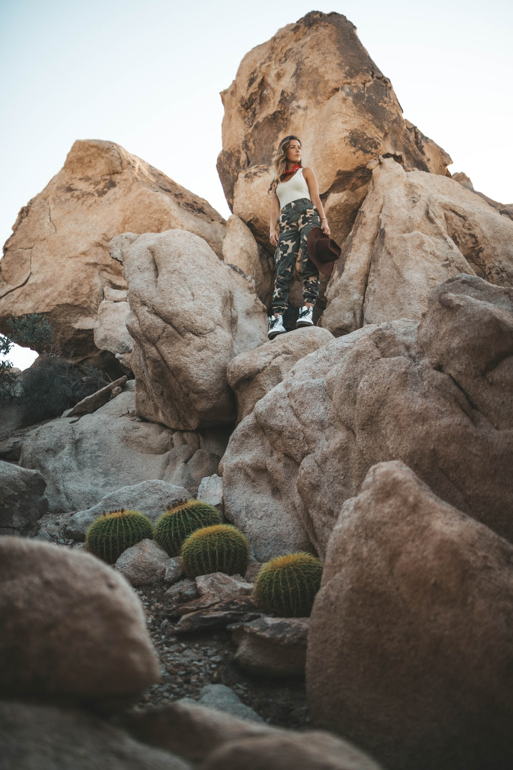 woman standing on rock formation near green cacti during daytime