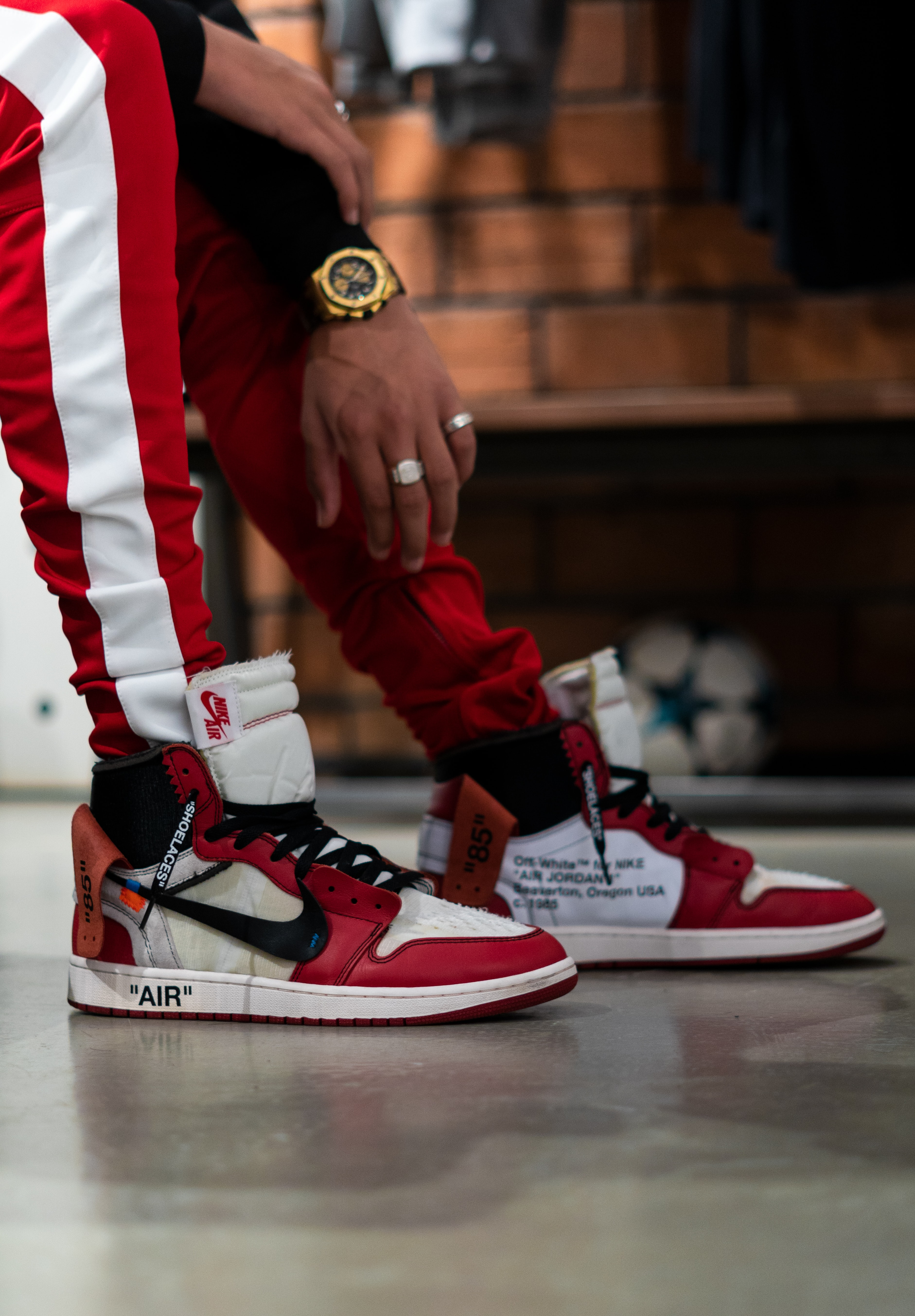 person wearing chicago Air Jordan 1 x Off-white