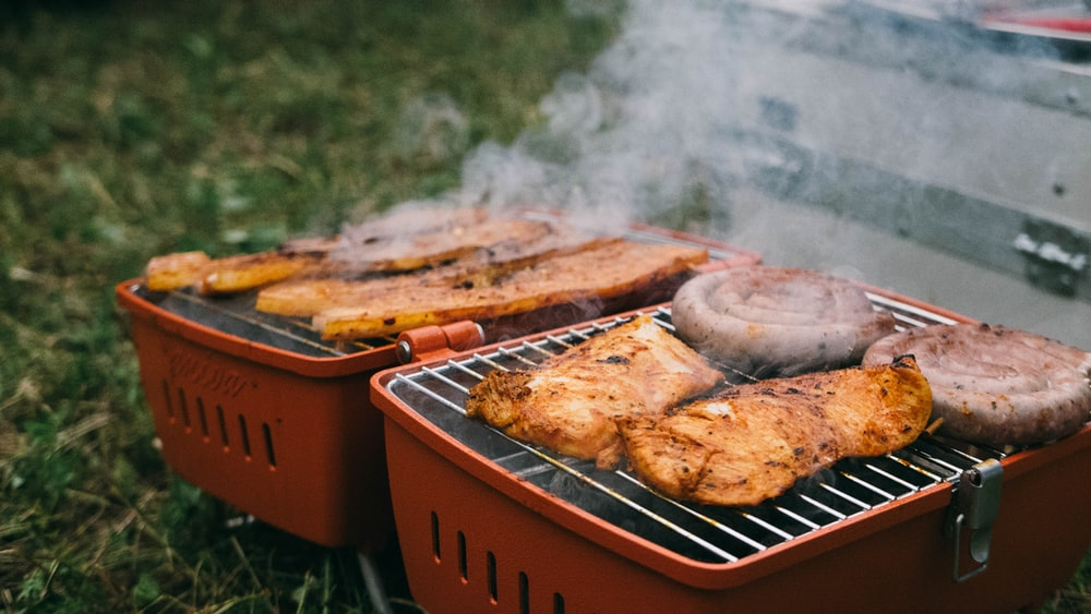 grilled meat on outdoor grill