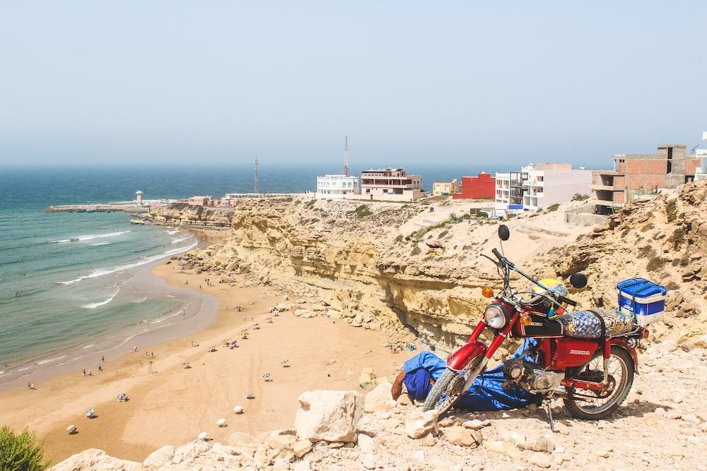 motorcycle on seashore