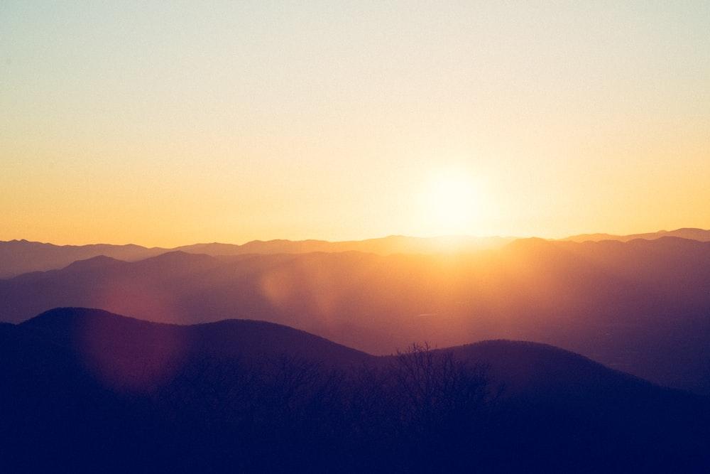 silhouette of mountain on horizon