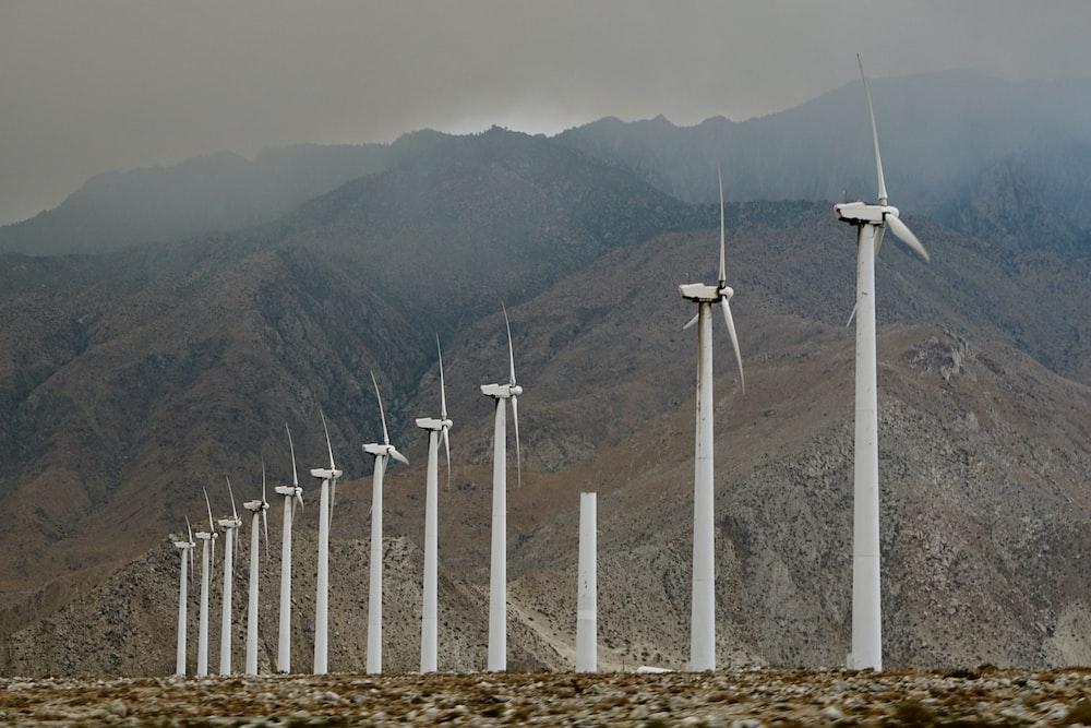 white windmills outdoors