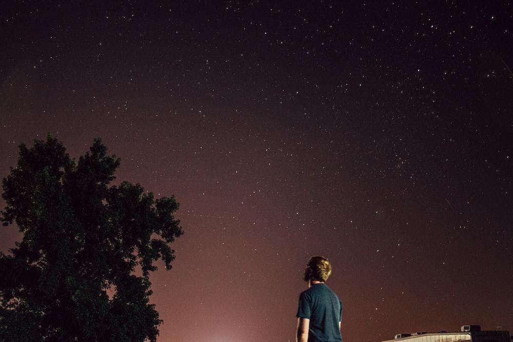 man standing beside tree under brown sky