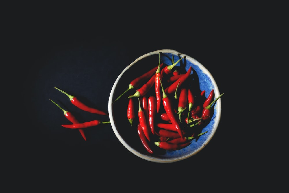 bowl on red chilies