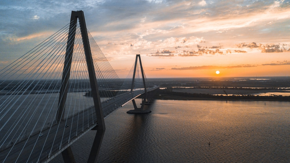 cable-stayed bridge view during golden hour