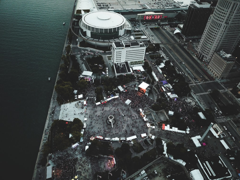 aerial city shot
