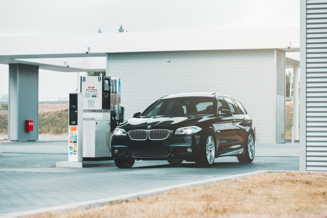 BMW 5 Series at the gas station. This photo was made in The Netherlands.