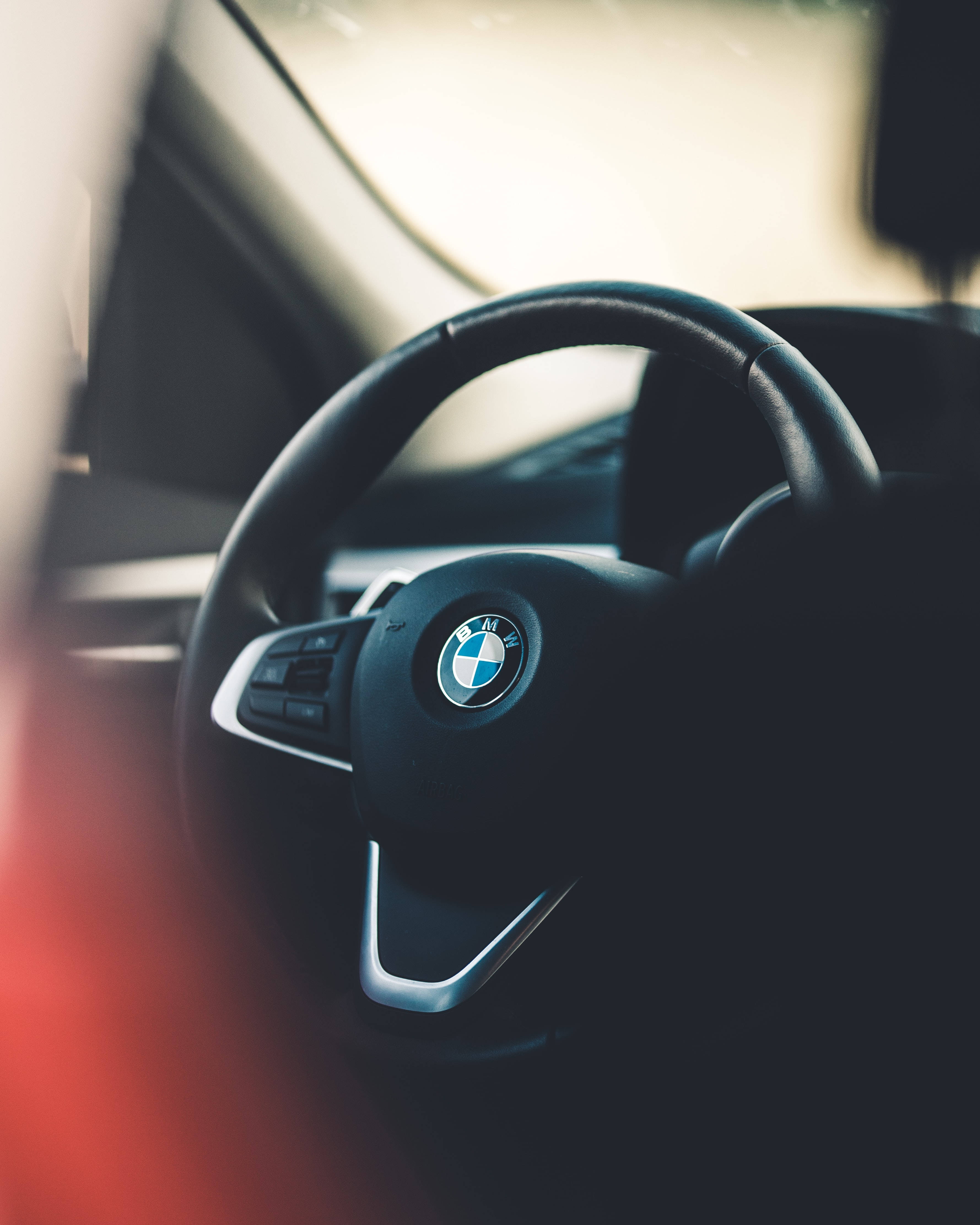 black BMW steering wheel