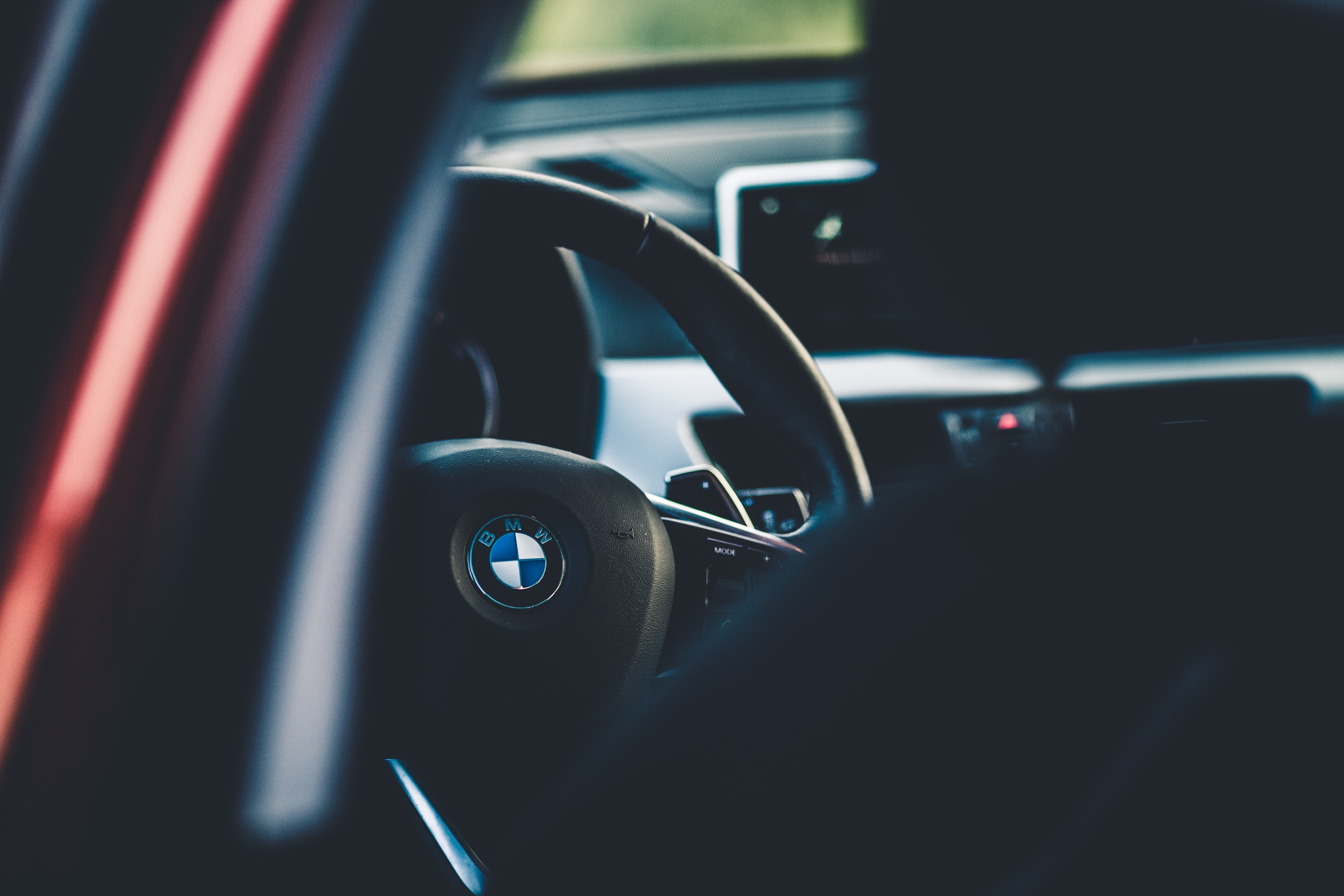 black BMW car steering wheel