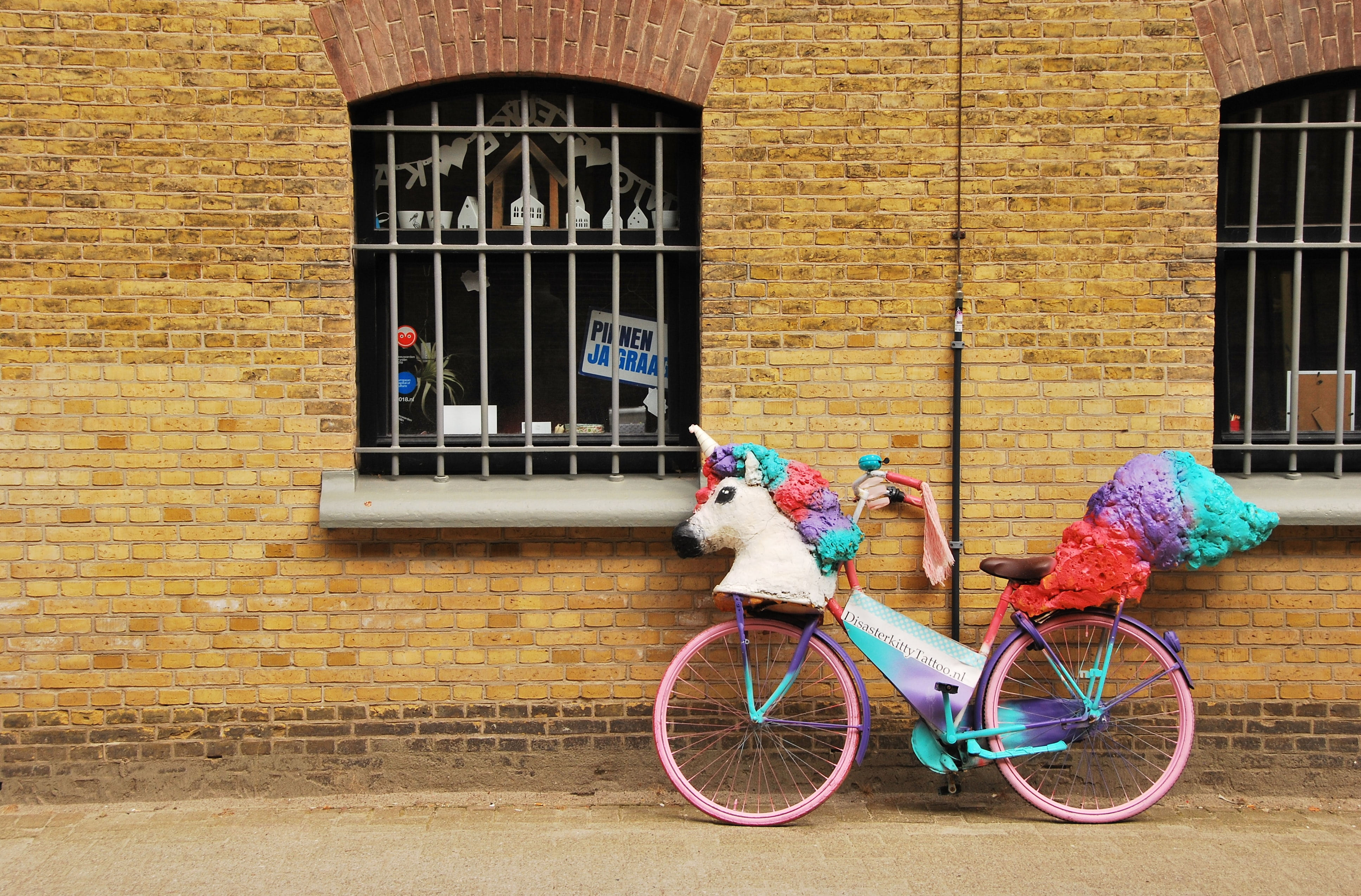 pink and purple city bicycle
