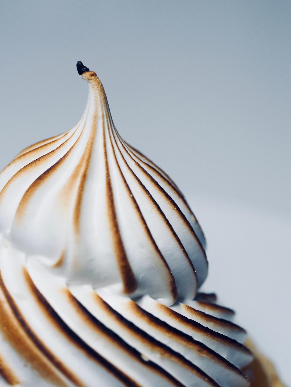 A lemon meringue cupcake in its peak glory.