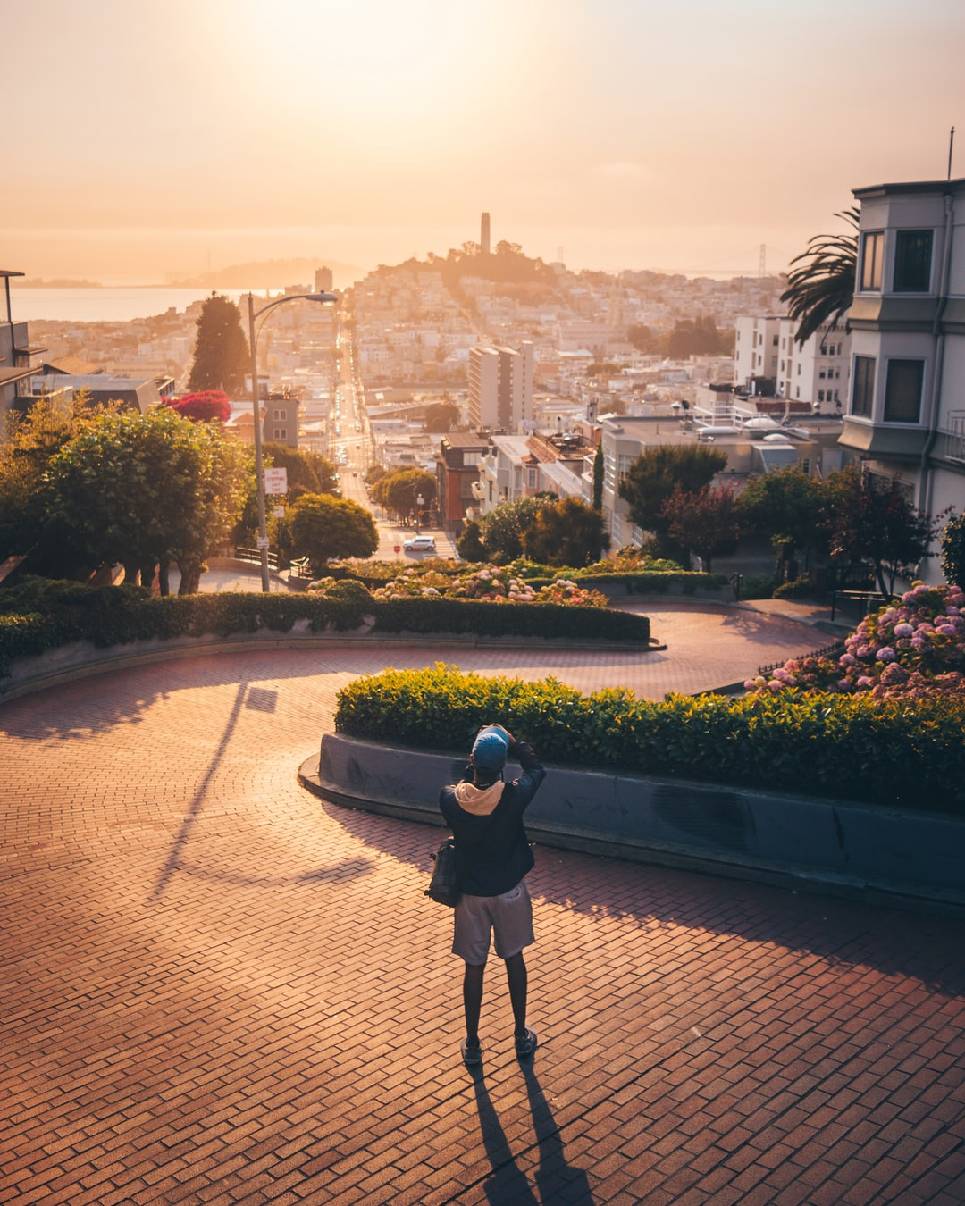 We were driving throughout San Francisco looking for the perfect place to shoot sunrise and as we got to Lombard Street we saw how empty it was and started taking photos immediately.