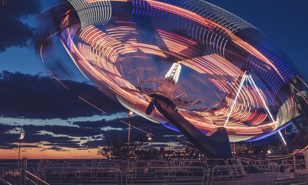 time-lapse photo of amusement ride