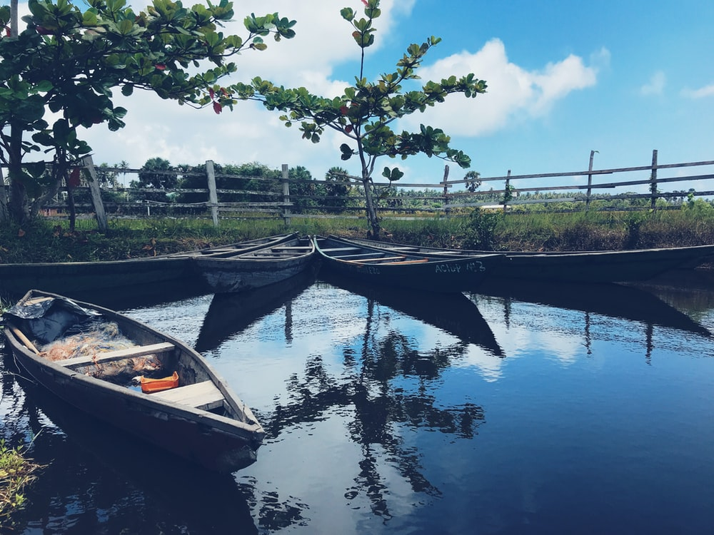 canoe floating body on water