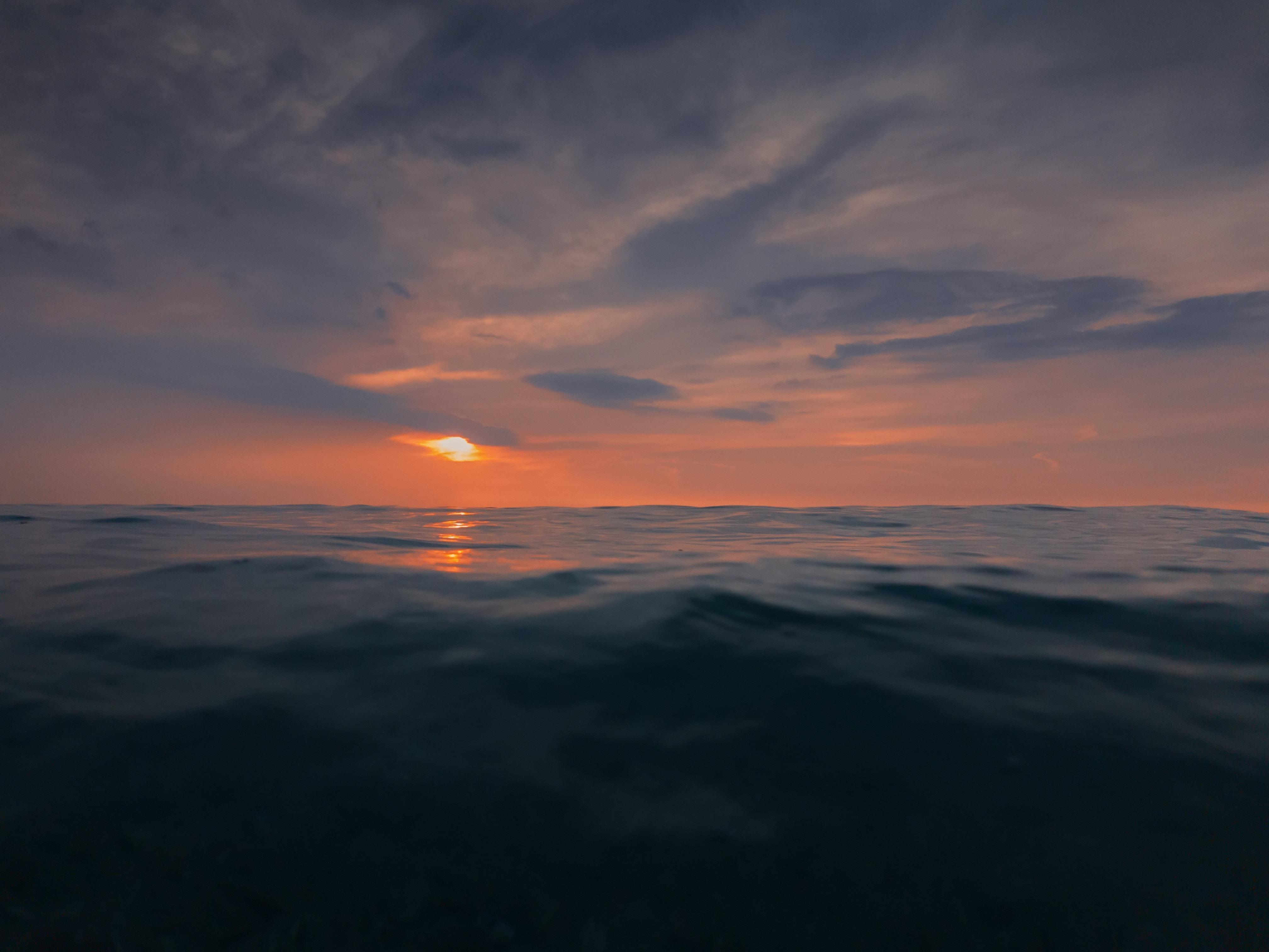 body of water in horizon of sunset