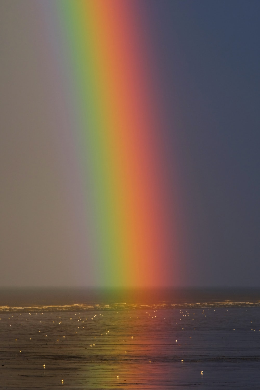 rainbow on body of water