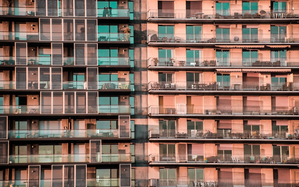 architectural photography of an orange high-rise building