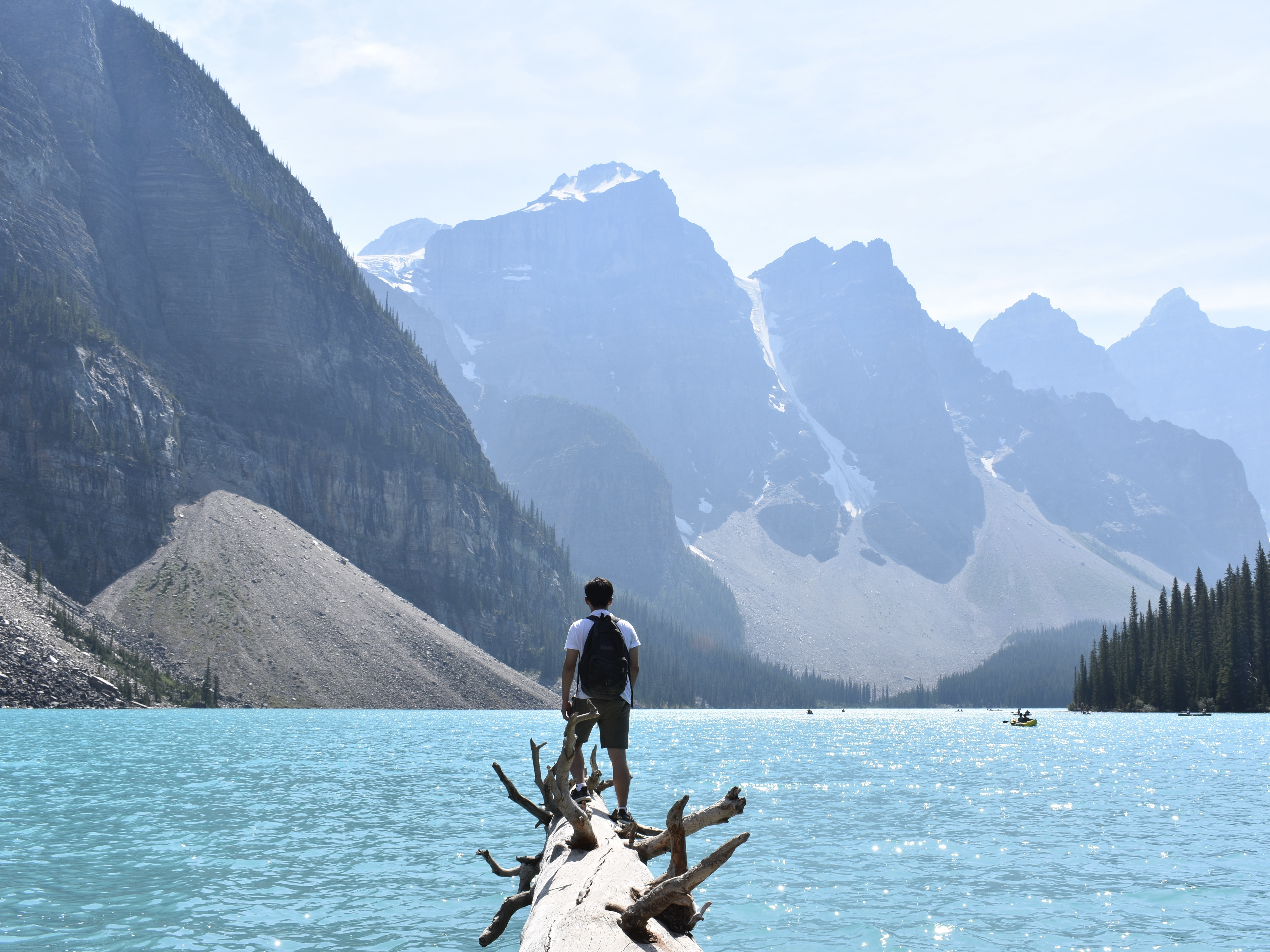 man standing on edge of tree trunk and facing at the mountains