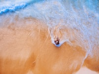 aerial photography of person sitting on sea