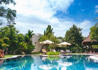 resort with pool, hut, and patio umbrellas