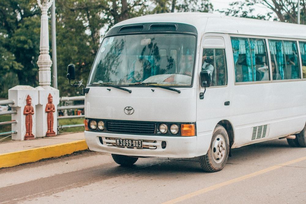 white Toyota bus