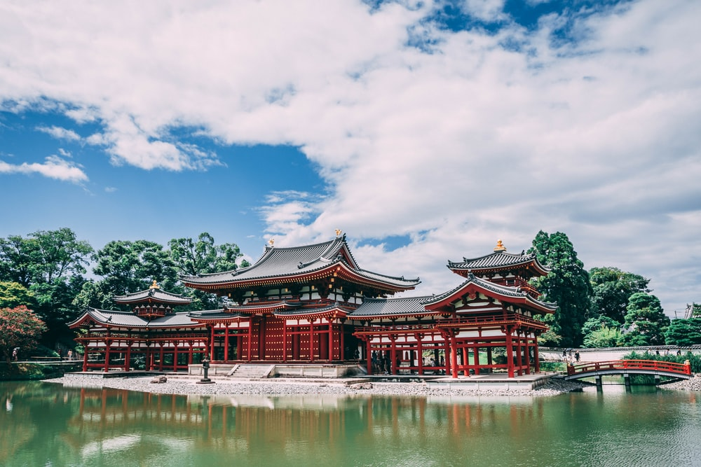 pagoda temple across body of water under blue cloudy sky