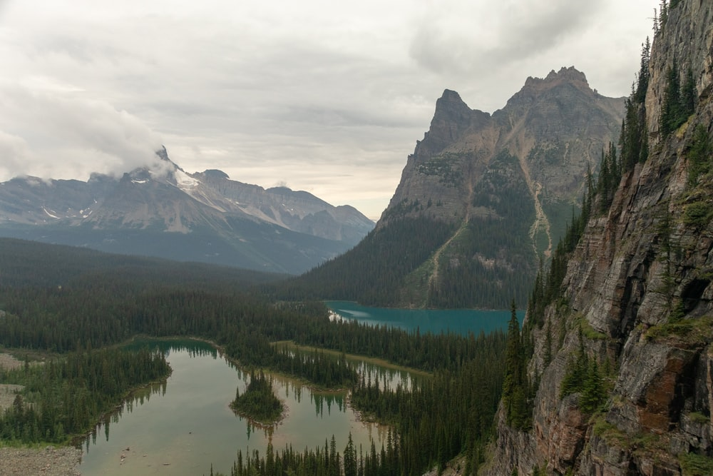 landscape photograph of mountain ranges and lakes