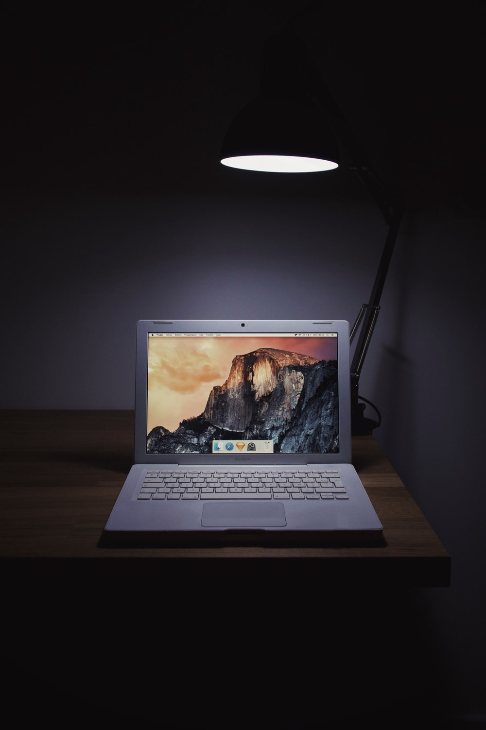 MacBook Air on wooden surface