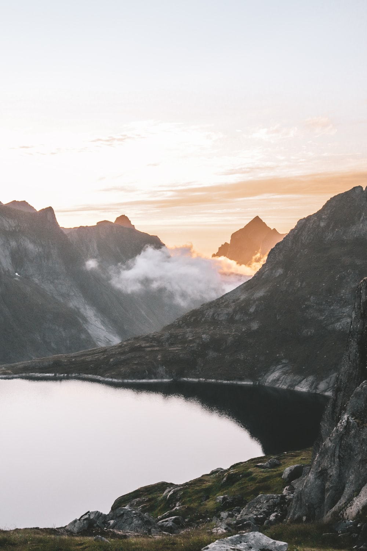 lake beside mountains