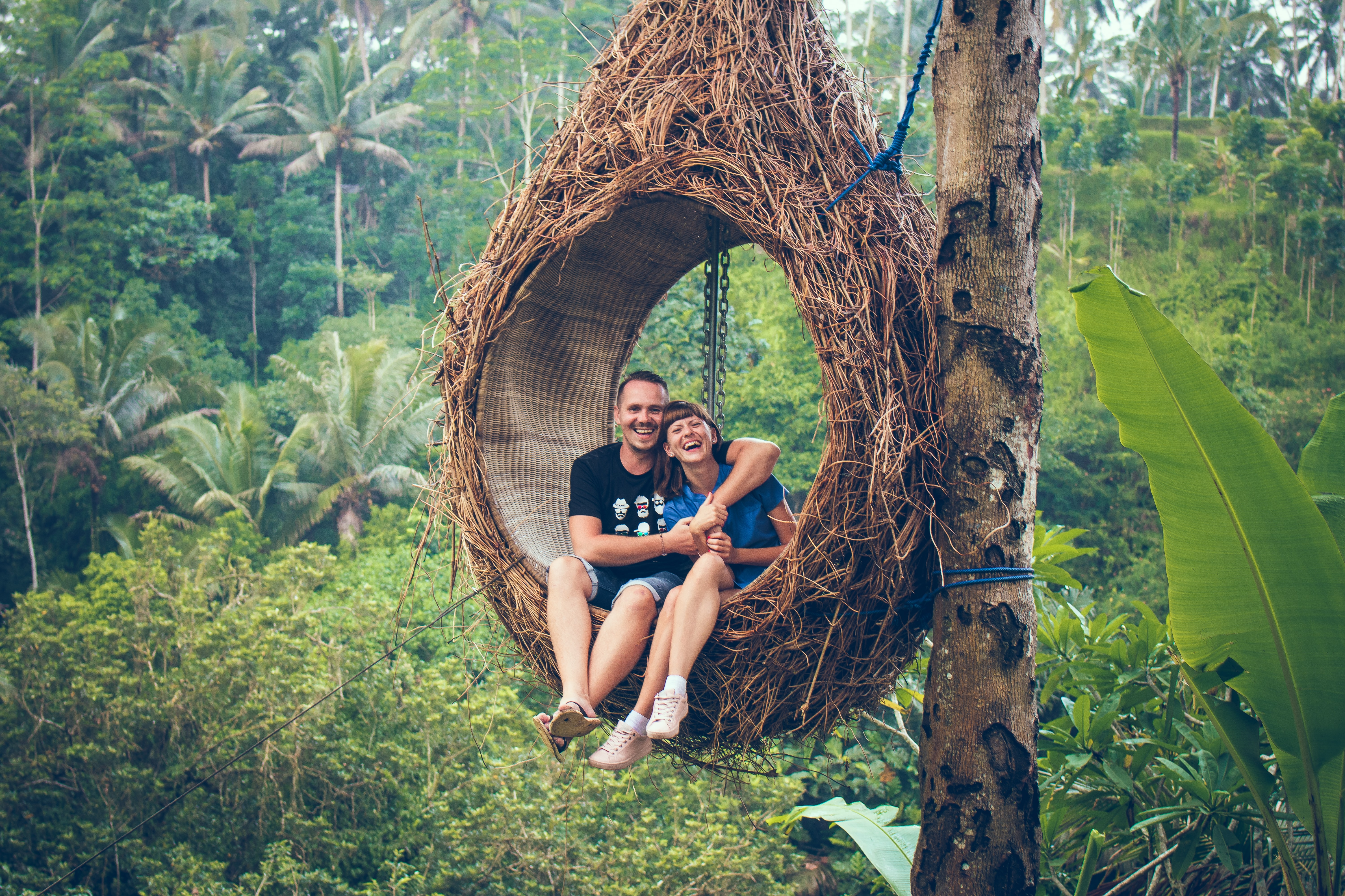 man and woman riding on brown hammock beside brown tree