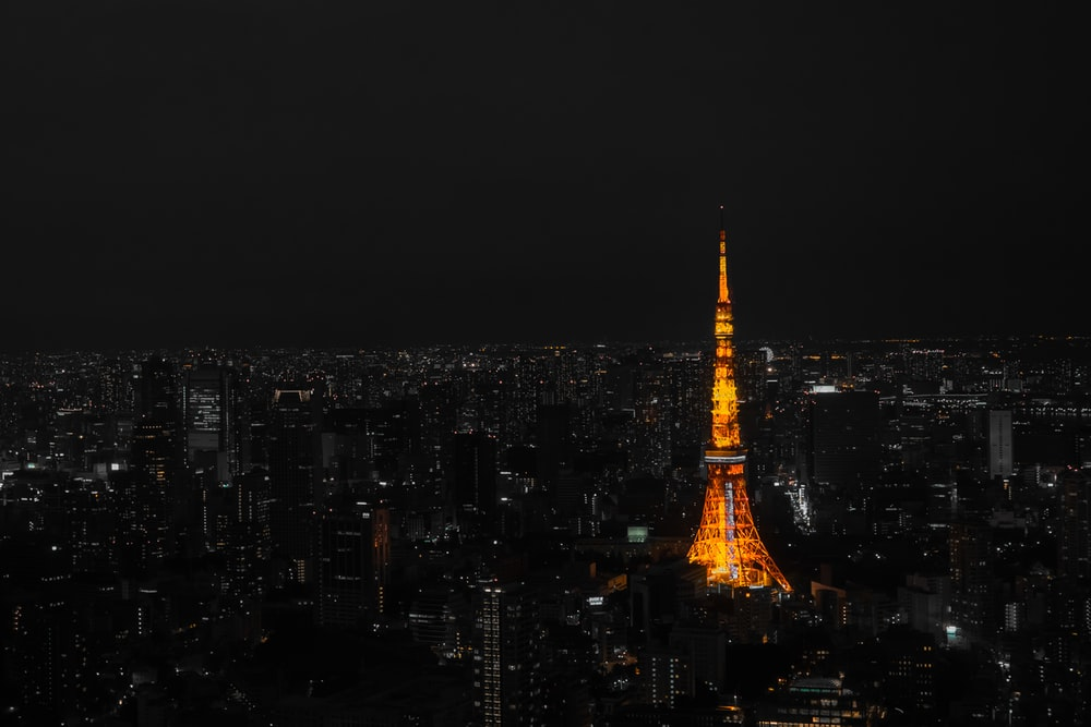 lighted Tokyo Tower located at Japan