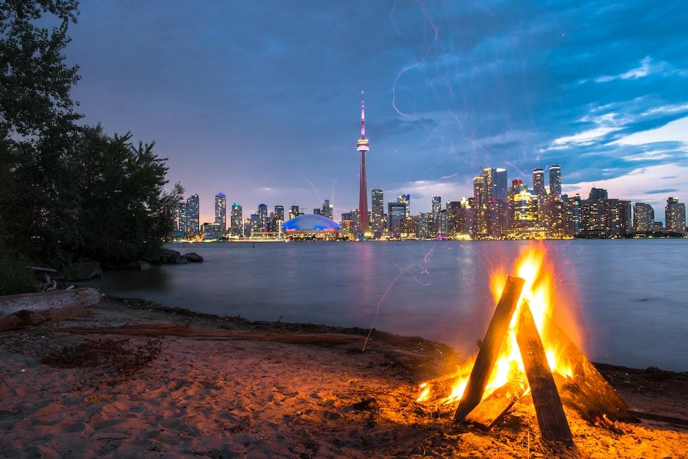 bonfire beside seashore