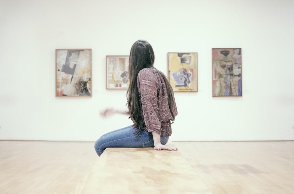 woman sitting on floor
