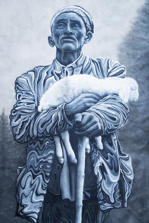 man carrying white lamb painting
