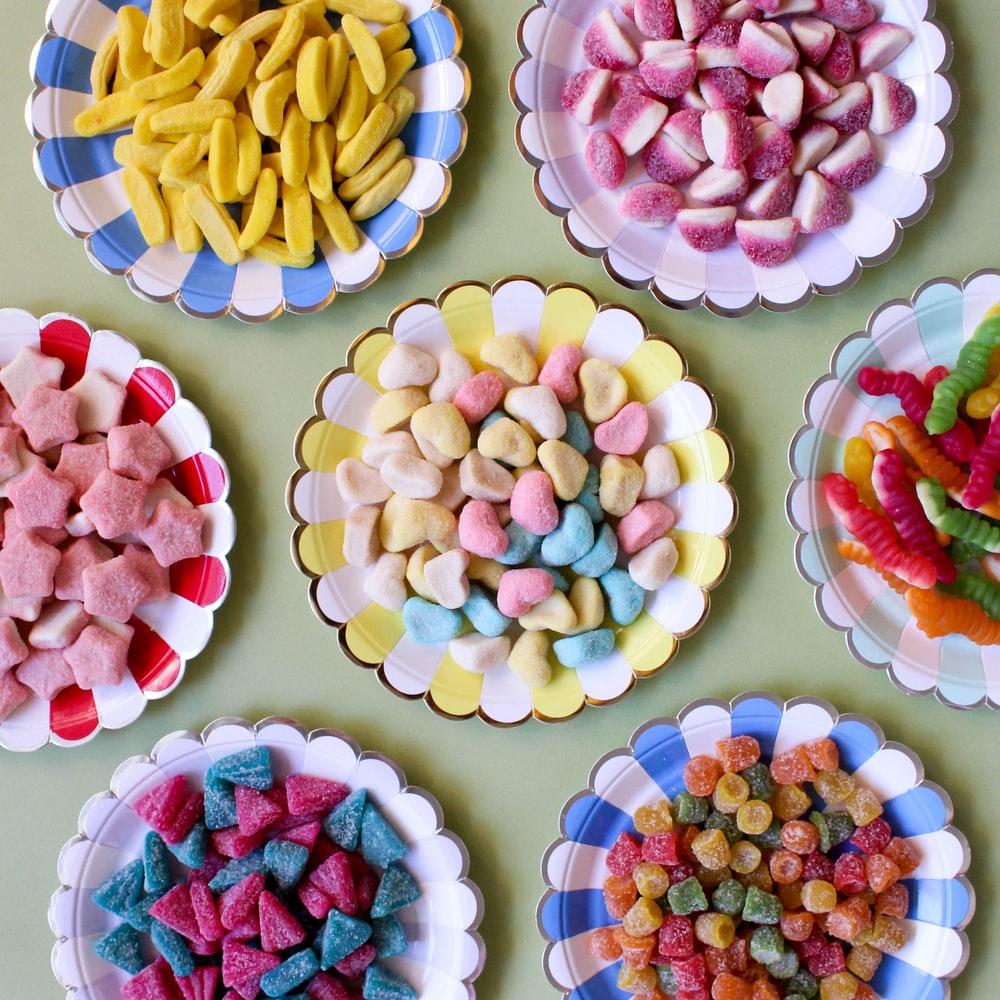 assorted candies on plate