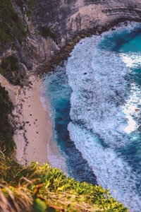top view of beach shore