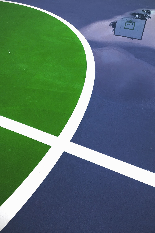 blue and green basketball court flooring