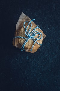 cookie wrapped blue and white lace