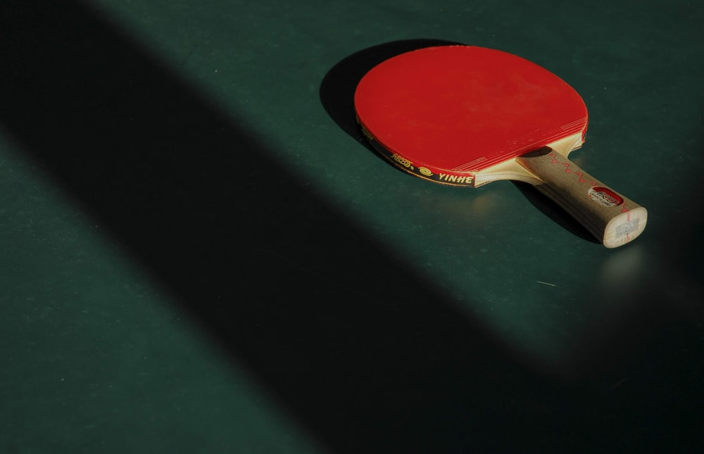 red and brown ping pong table on green panel