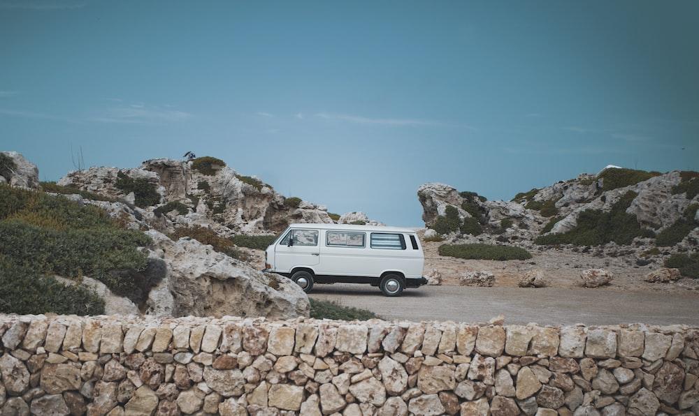 parked white conversion van
