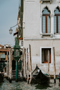 Empty gondola moored on the Grand Canal, Venice
