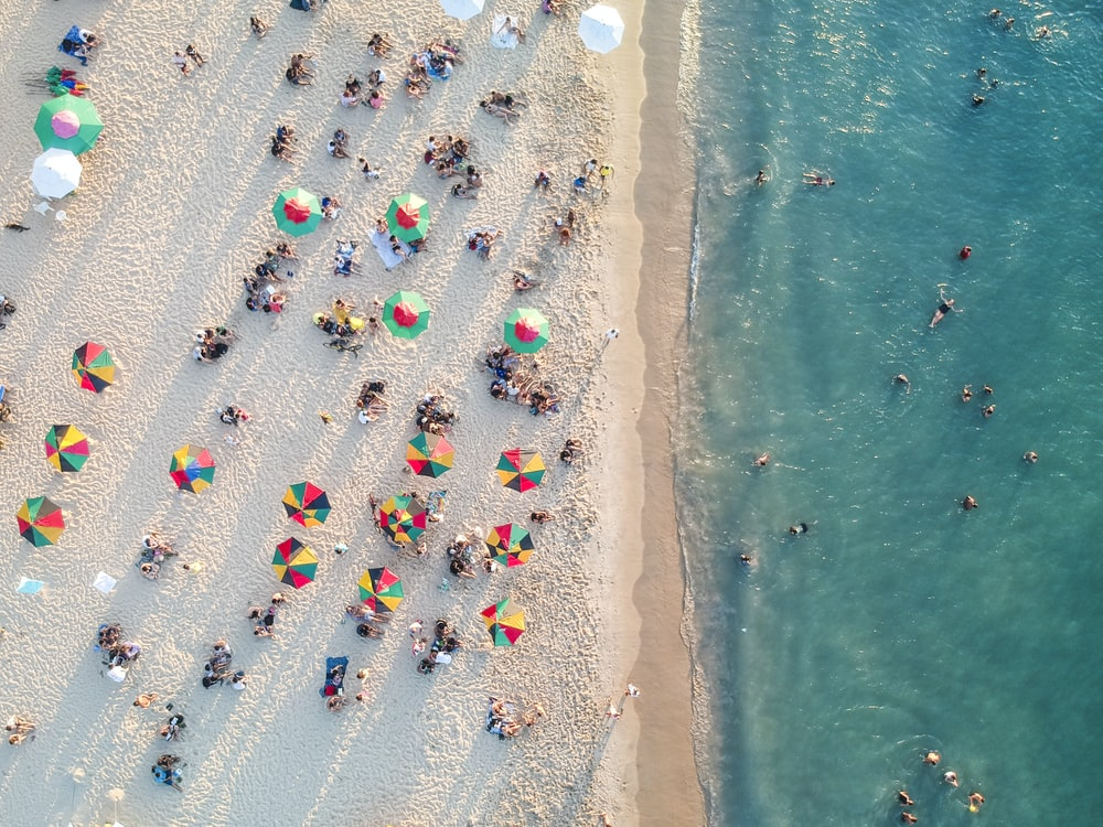 bird's eye view photo of people on beach