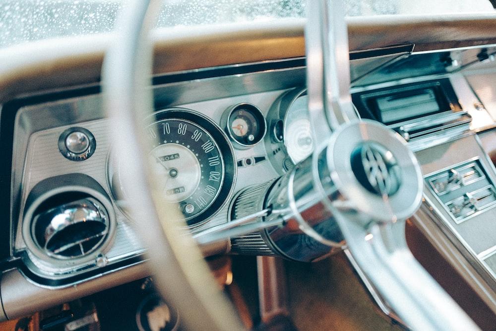 close-up of steering wheel