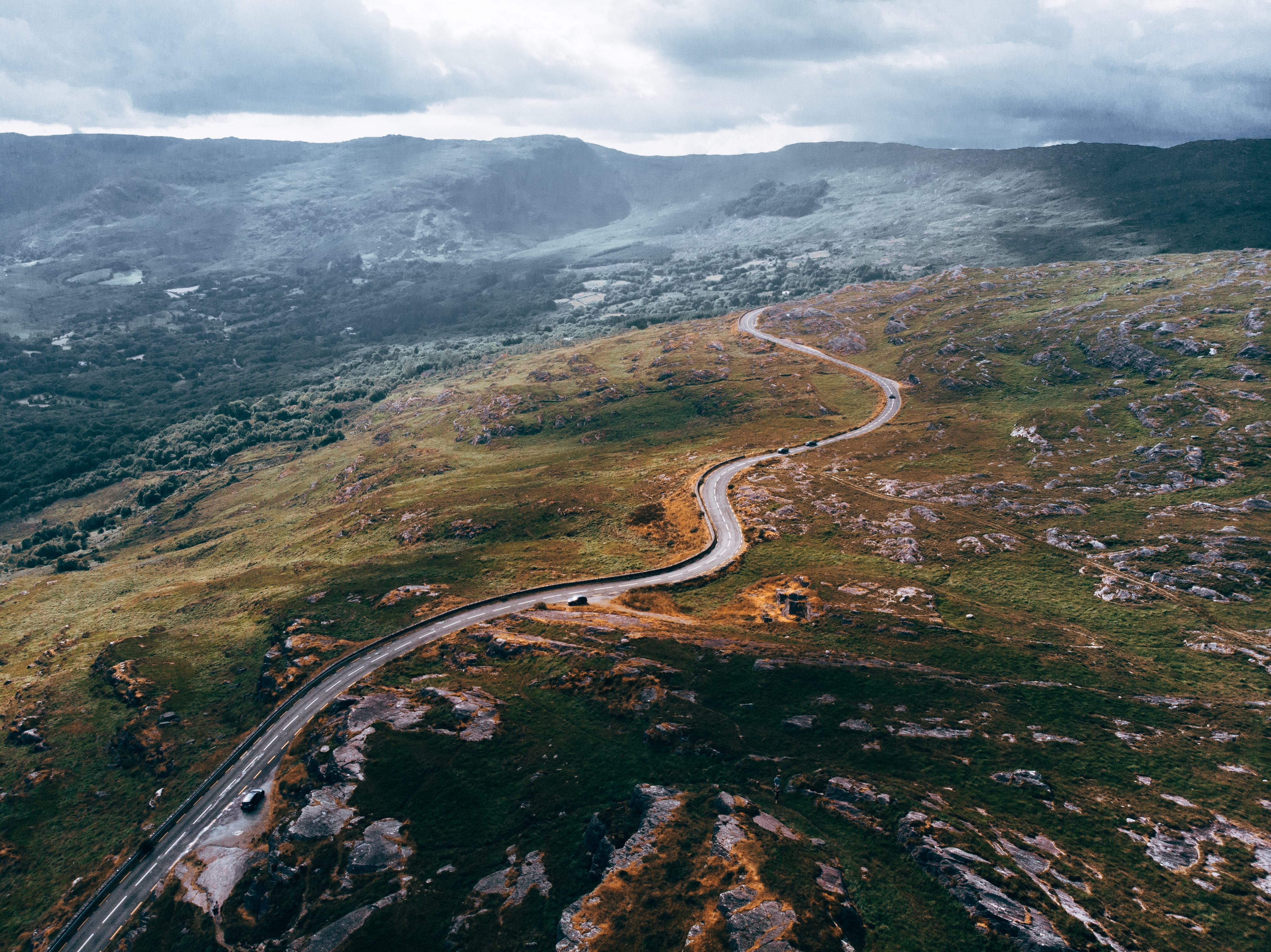 aerial photography of road going to town