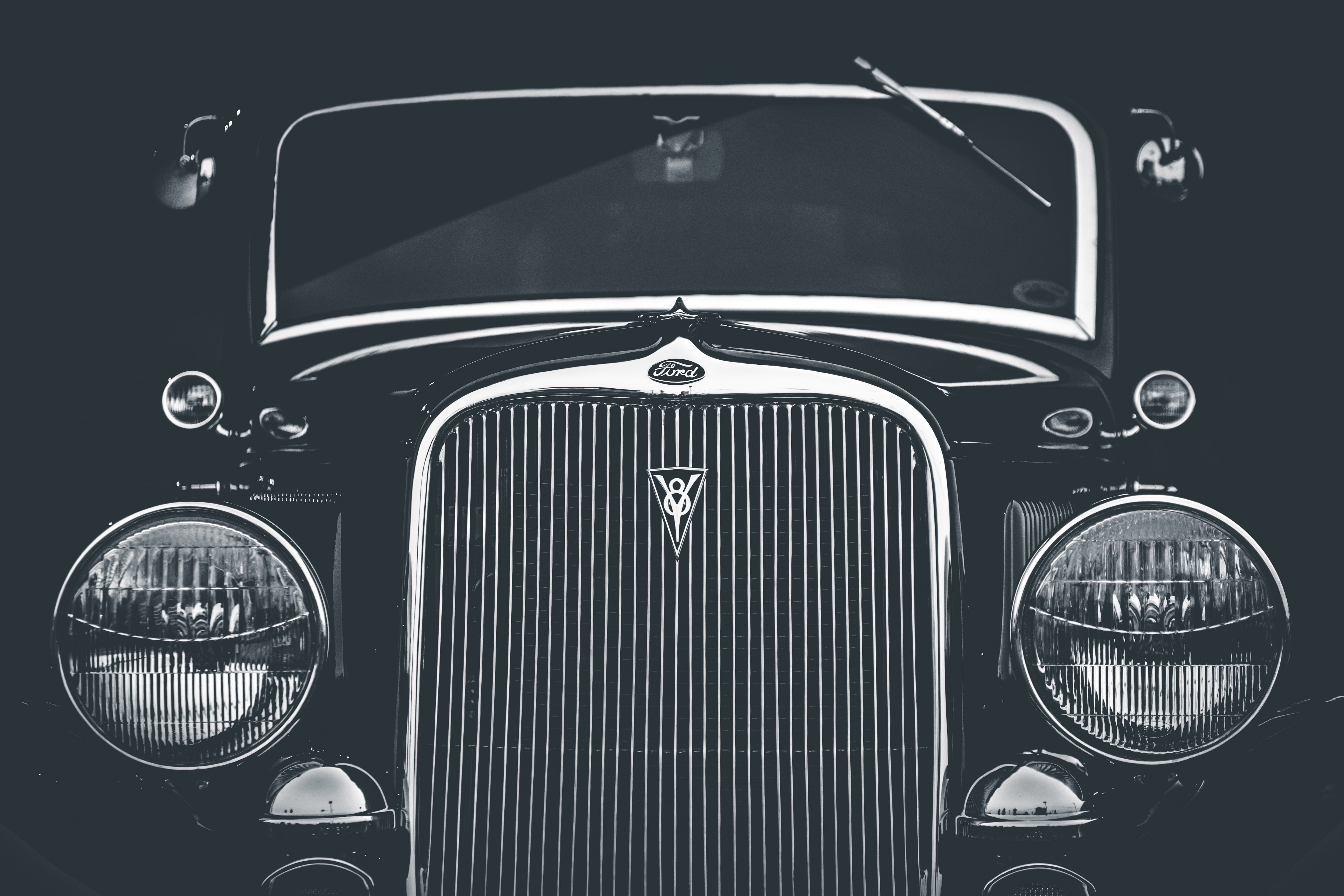 grayscale photography of classic car