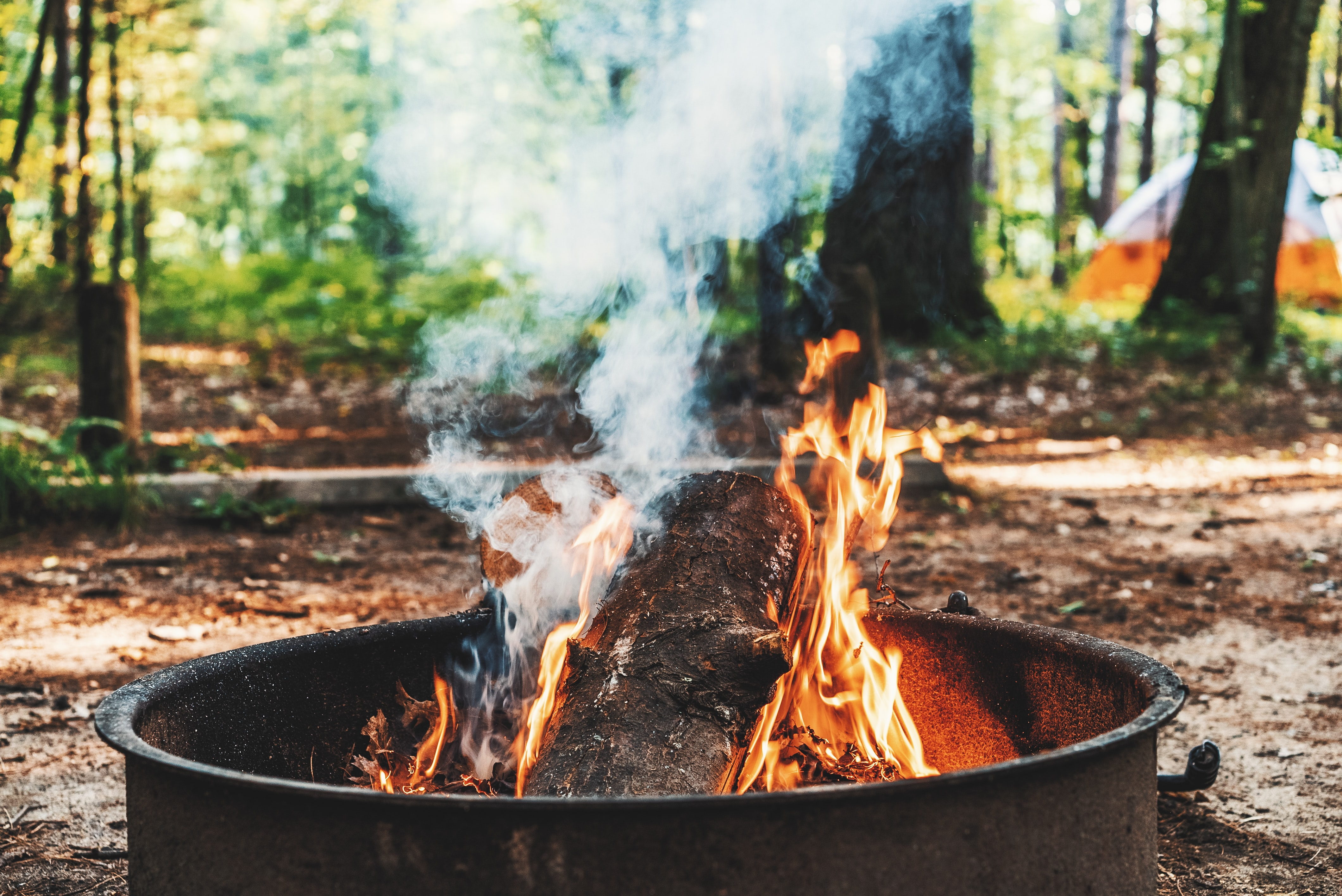 brown firepit with flames