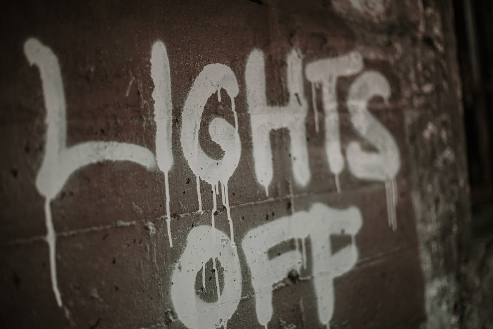 close up of Lights Off wall text