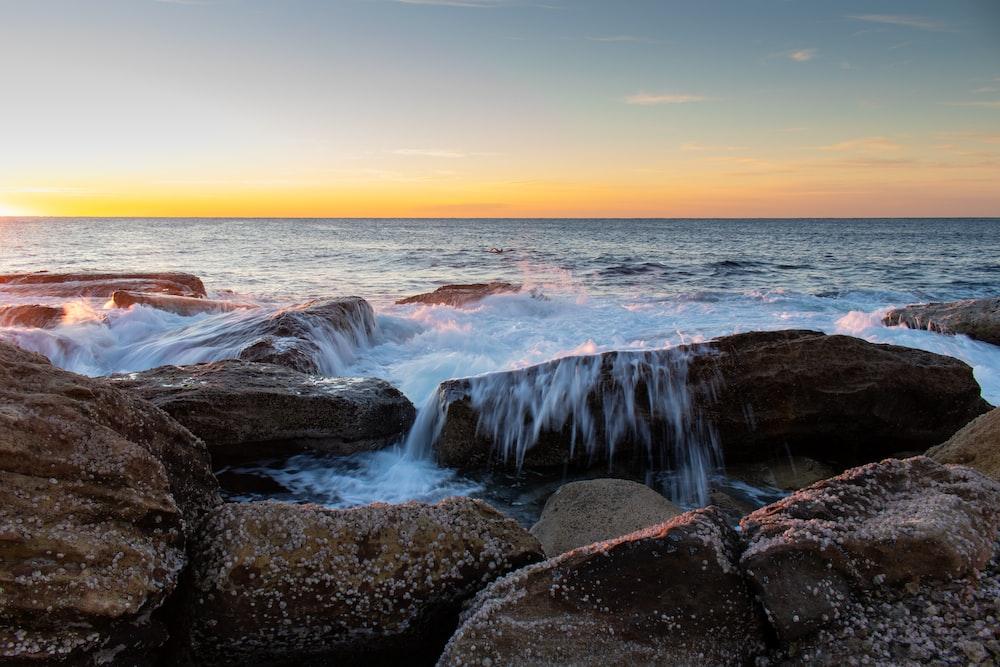 splash of water hitting rocks